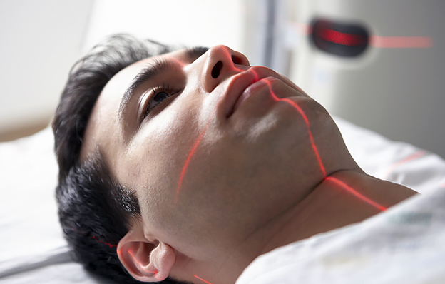 A patient getting a head scan.