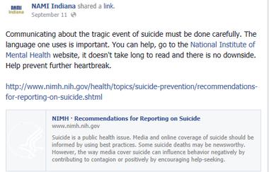 NAMI Indiana Facebook post