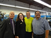 Phil Silva District Director, Rita Madrid, Lender Relations Specialist , SBA Deputy Administrator Marie Johns and Fred Borrego, owner of ALCO Machine,