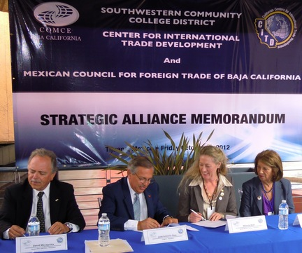 Photo: Strategic Alliance Signing between San Diego CITD and Mexican Council for Foreign Trade of Baja California