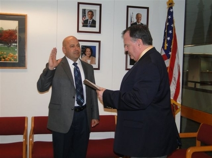 Director Bob Nelson Swears in Oreste Varela