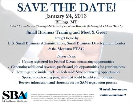 Save the Date Government Contracting workshops