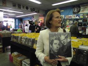 Mills holds classic vinyl