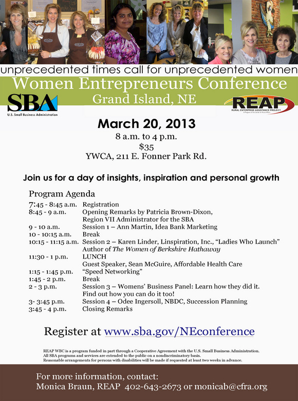 Women's Entrepreneur Conference March 20 in Grand Island