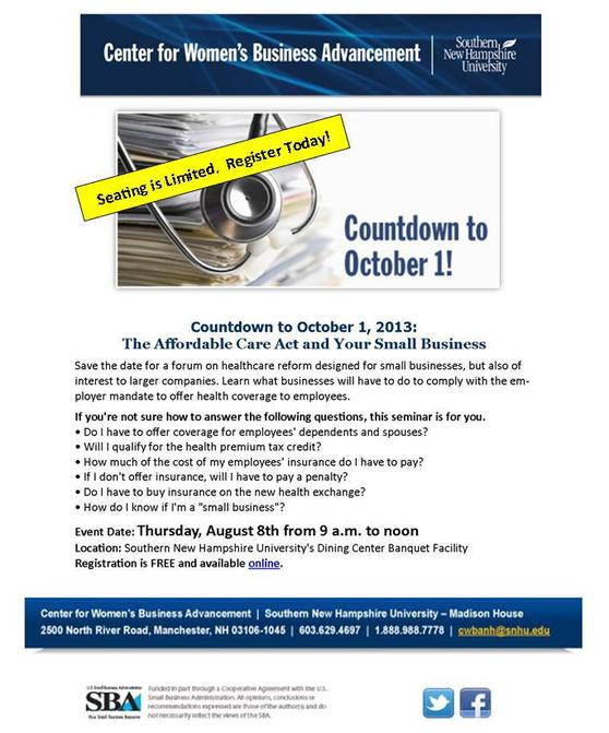Affordable Care Act Seminar And SBA We Mean Business Highlight August Events