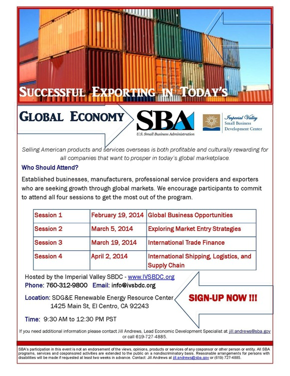 Flyer: Export Workshop Series (Imperial Valley)