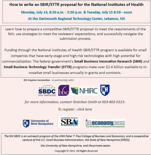 SBIR / STTR workshop on July 14 and 15 2014 in Lebanon, NH