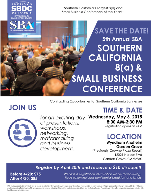 save the date may 6 2015 southern california sba 8 a