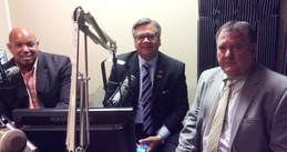 Photo: Wayne Bell, Ruben Garcia and Robert Nelson at WSRadio station