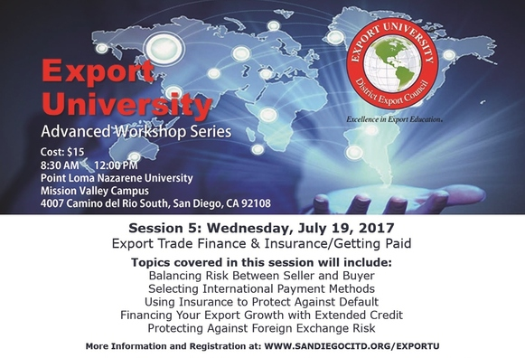 Image: Flyer for July 19th - Export University Workshop on Export Trade Finance & Insurance/Getting Paid