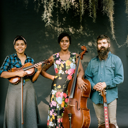 Three people holding instruments under a tree