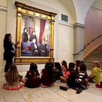 Kids learning about a portrait