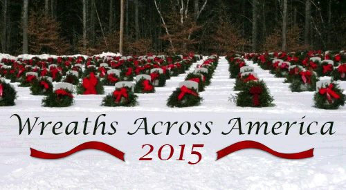 Picture of a holiday wreaths at a VA national cemetery.