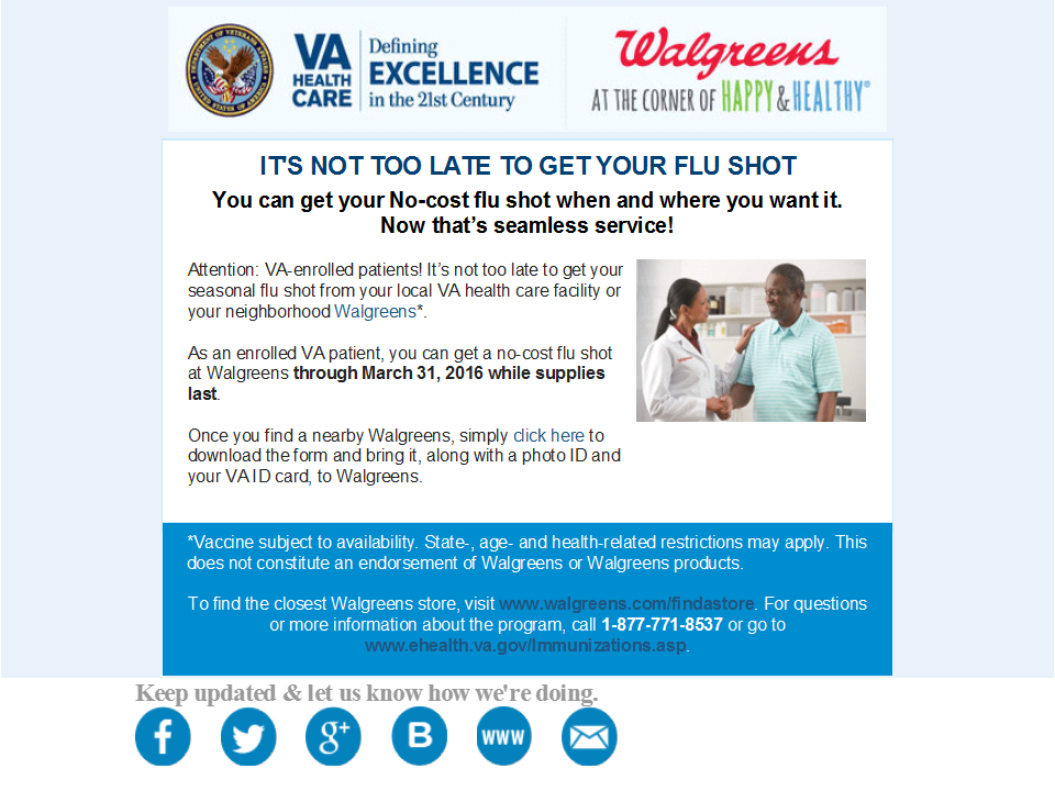 VA Walgreens Retail Immunization Flyer