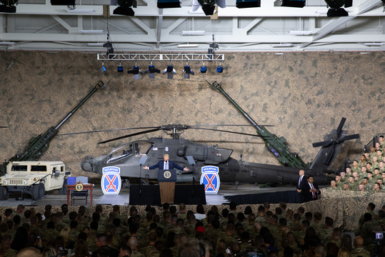 POTUS delivers remarks prior to signing the NDAA for Fiscal Year 2019 at the Wheeler-Sack Army Air Field in Fort Drum, NY