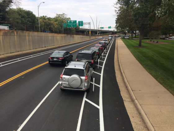 Protected bike lane on Army Navy Drive