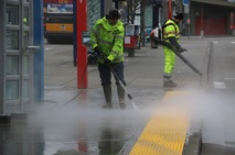 Facilities Team Cleans Bus Shelters