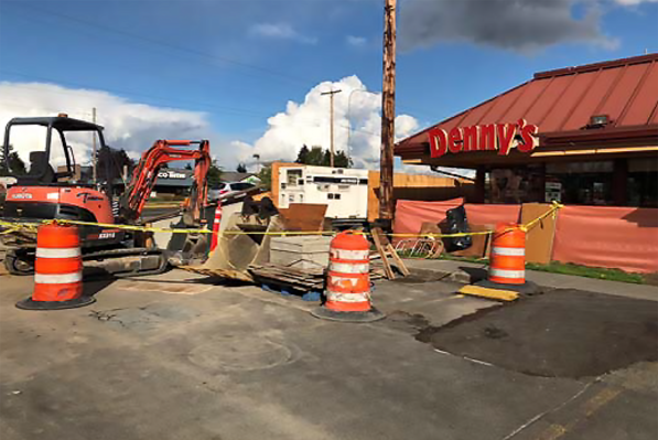 Denny's will see its driveway restored soon.