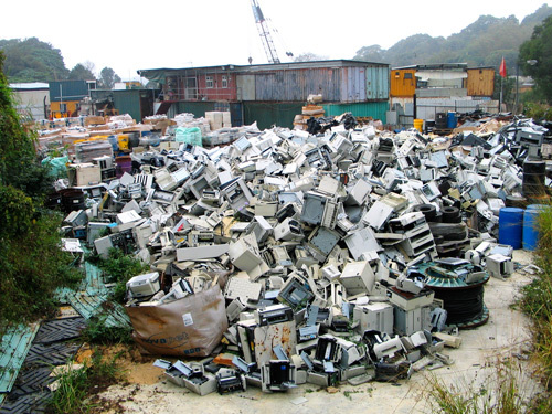 pile of imported printers in Hong Kong (Basel Action Network)