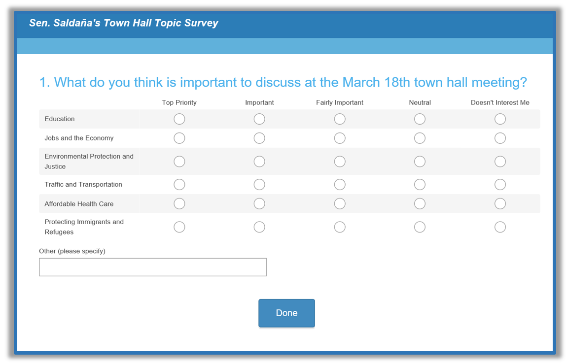 Town hall survey
