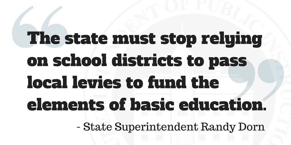 The state must stop relying on school districts to pass local levies to fund the elements of basic education.