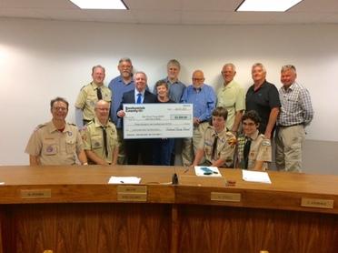 Brier Boy Scouts receive check