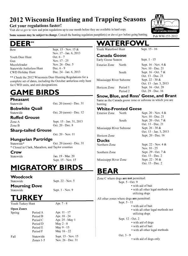 Wisconsin 2012 hunting and trapping seasons for Wisconsin out of state fishing license