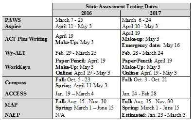 2016-2017 testing calendar