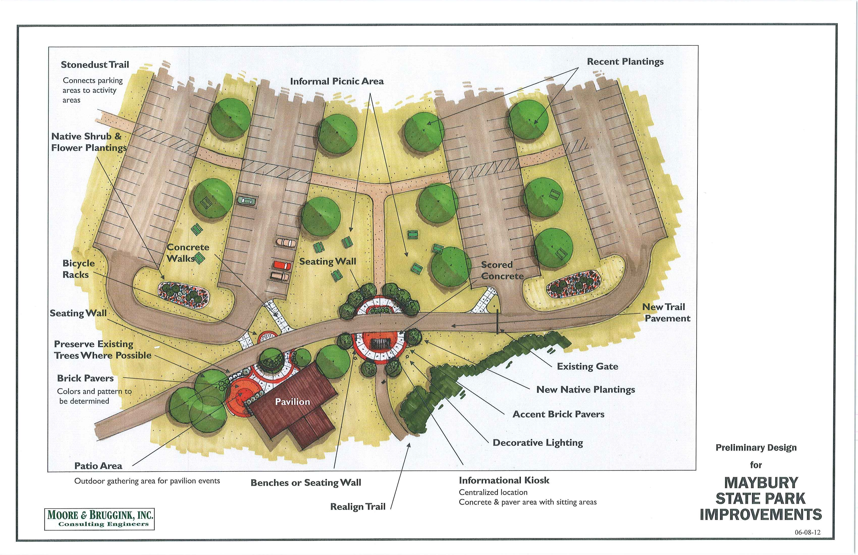 Maybury state park plans for expanded trailhead welcome center for Park landscape design