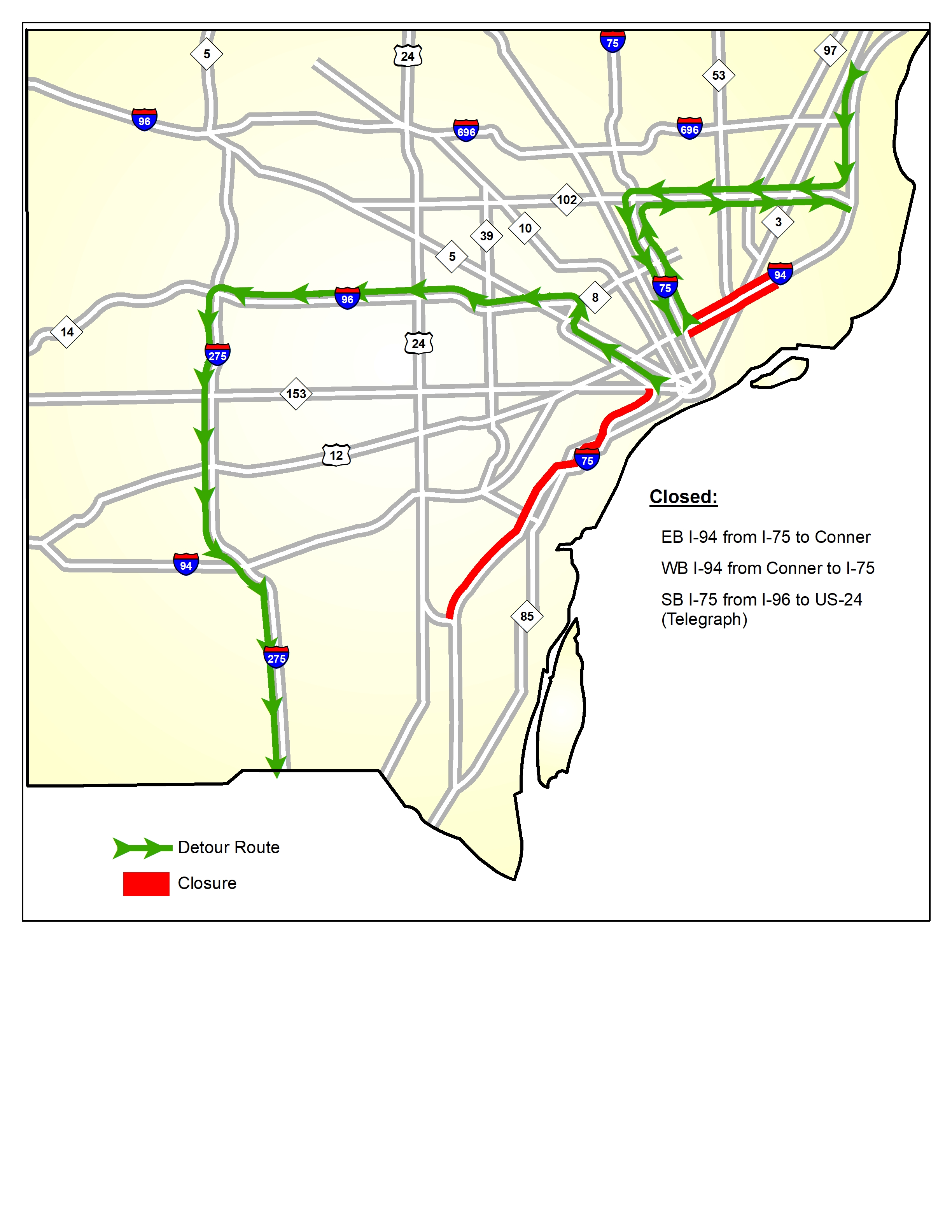 Alternate routes are available for I-94 weekend closure in Detroit on
