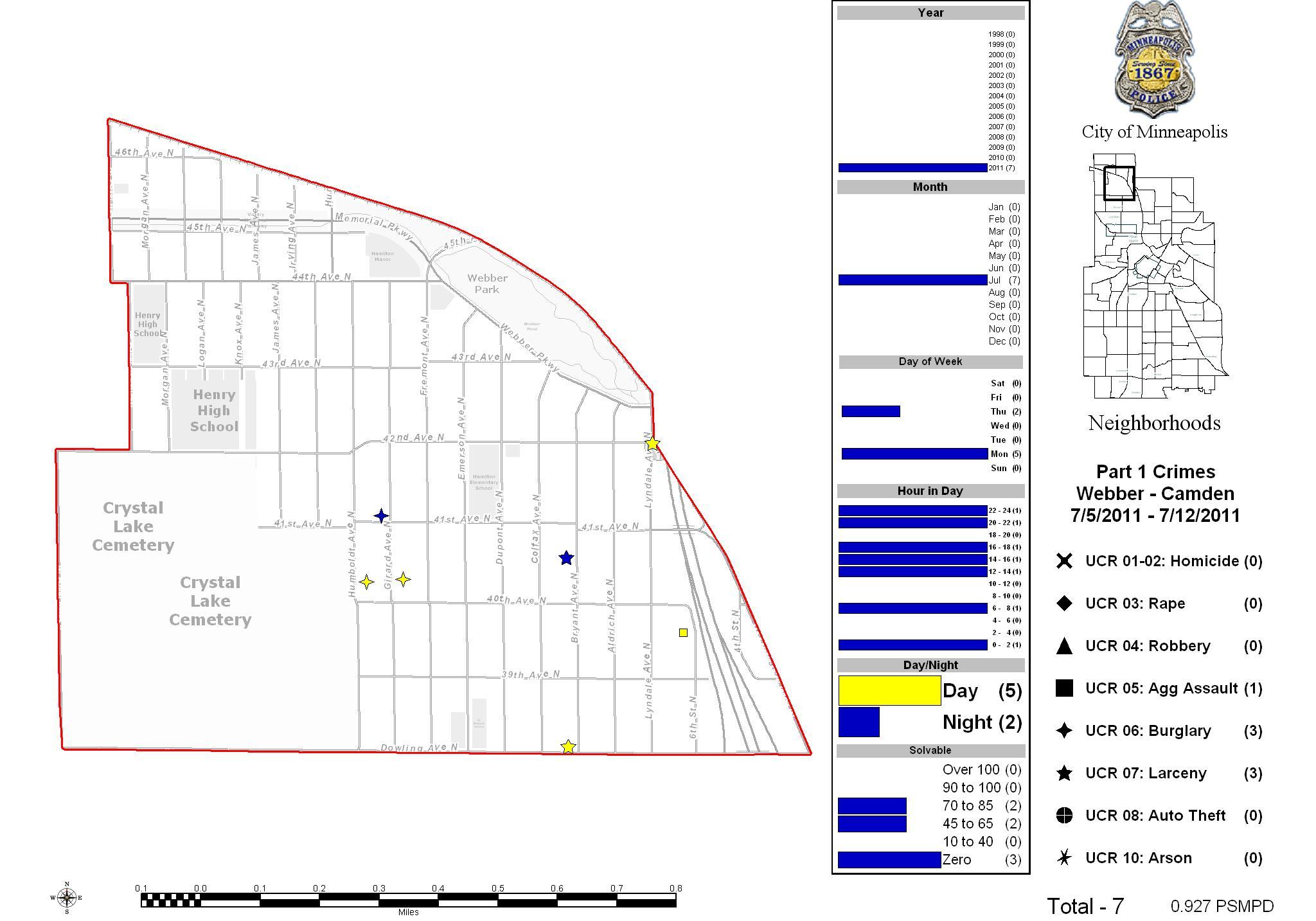 Minneapolis Police Precinct 4 (Sector 3) Update/Webber-Camden Crime Map