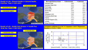InstantAtlas Alaska Health Maps Screen Shot - Poor General Health & No Insurance, 2011-2013