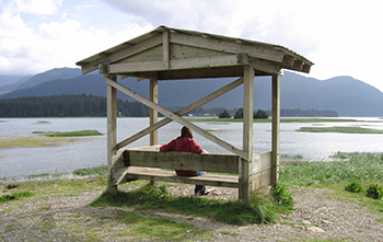 Woman sitting on a covered outdoor bench overlooking the Mendenhall Wetlands in Juneau, Alaska