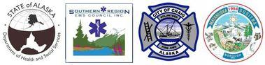 Alaska Department of Health and Social Services Seal, Southern Region EMS Council Logo, City of Craig Seal and MatSu Borough Seal