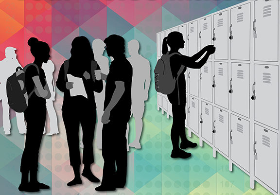 Illustration of a group of high school kids talking at their lockers