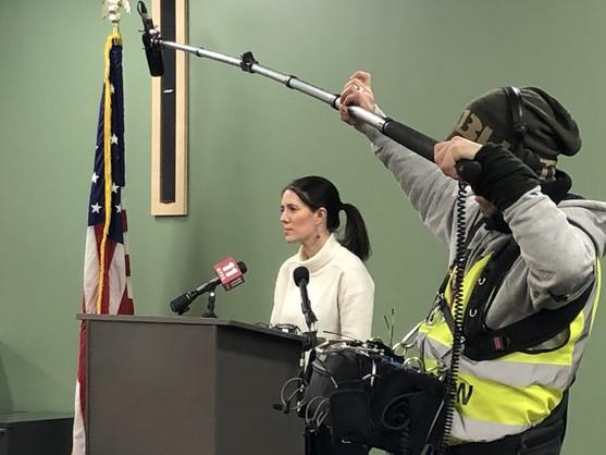 Dr Zink addresses Alaskans at a press briefing