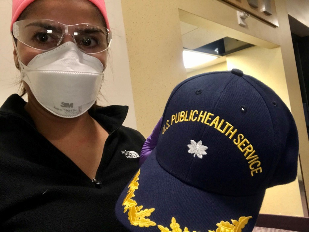Representative from the US Public Health Service wearing PPE