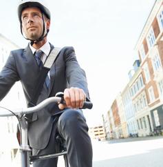 Biking Businessman