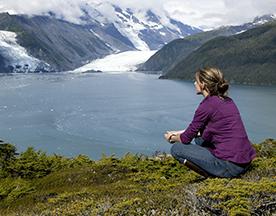 Woman lake glacier