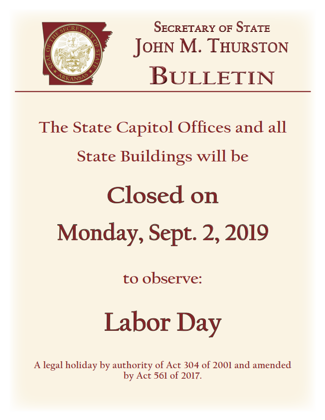 State Holiday Bulletin: September 2, 2019