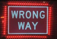 Wrong-way sign