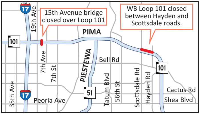 Loop 101 (Pima Frwy) weekend closure map for Aug 16-19, 2019