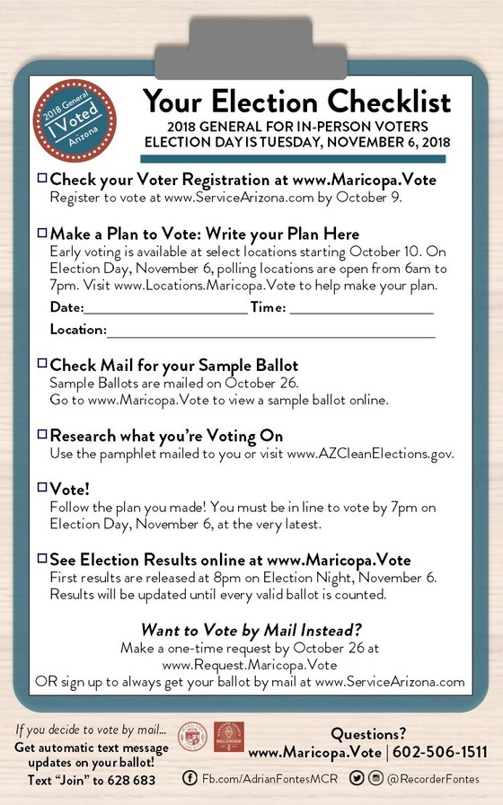 General Voter Checklist in person