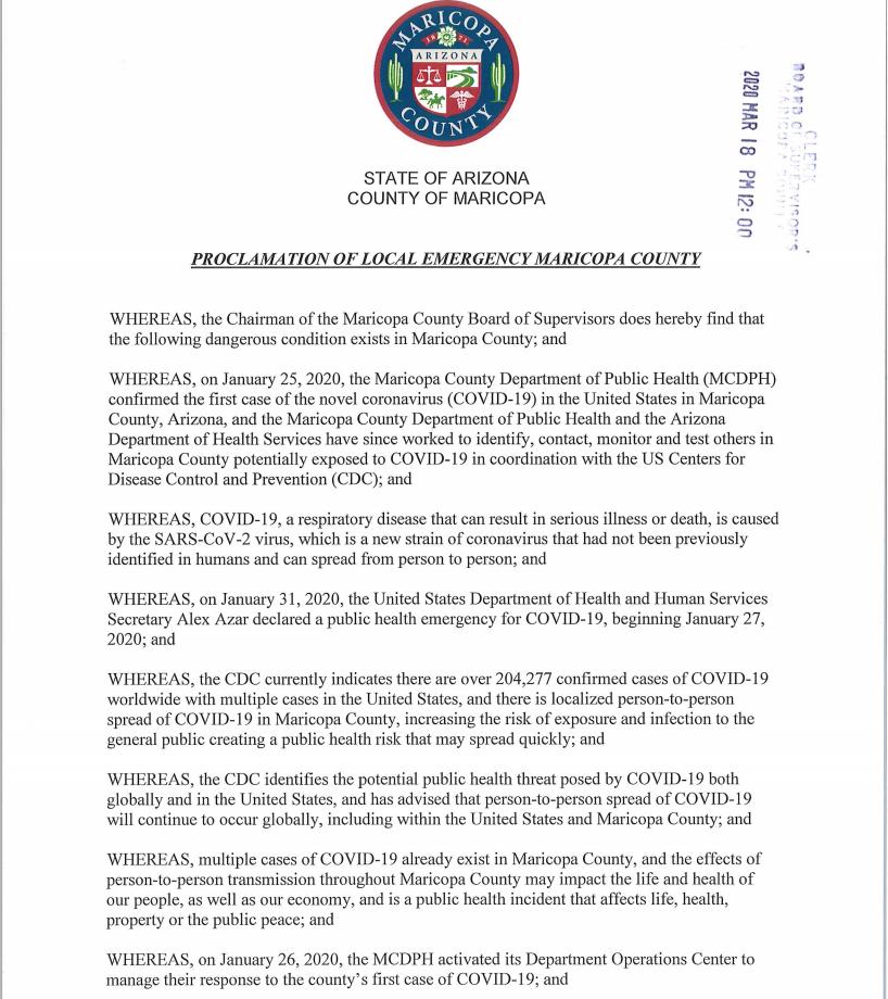 Maricopa County Emergency Declaration