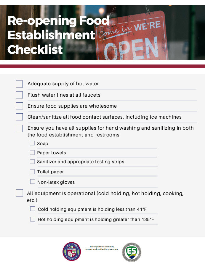 Re-opening Food Establishment Checklist (rev.)