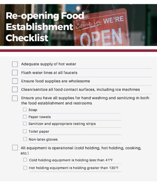 Food Establishment - Reopening Checklist