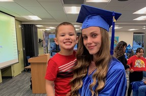 Online high school grad with child