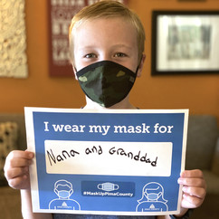 Lincoln wearing a mask
