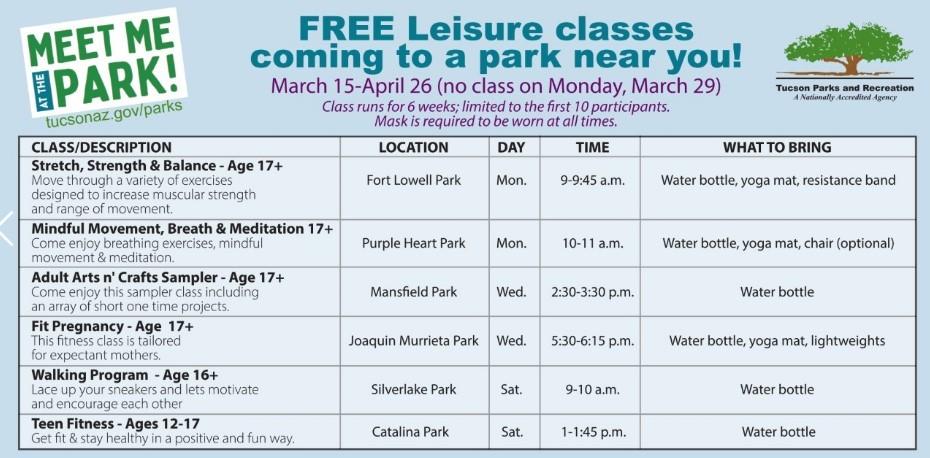park schedule
