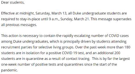 Duke Letter